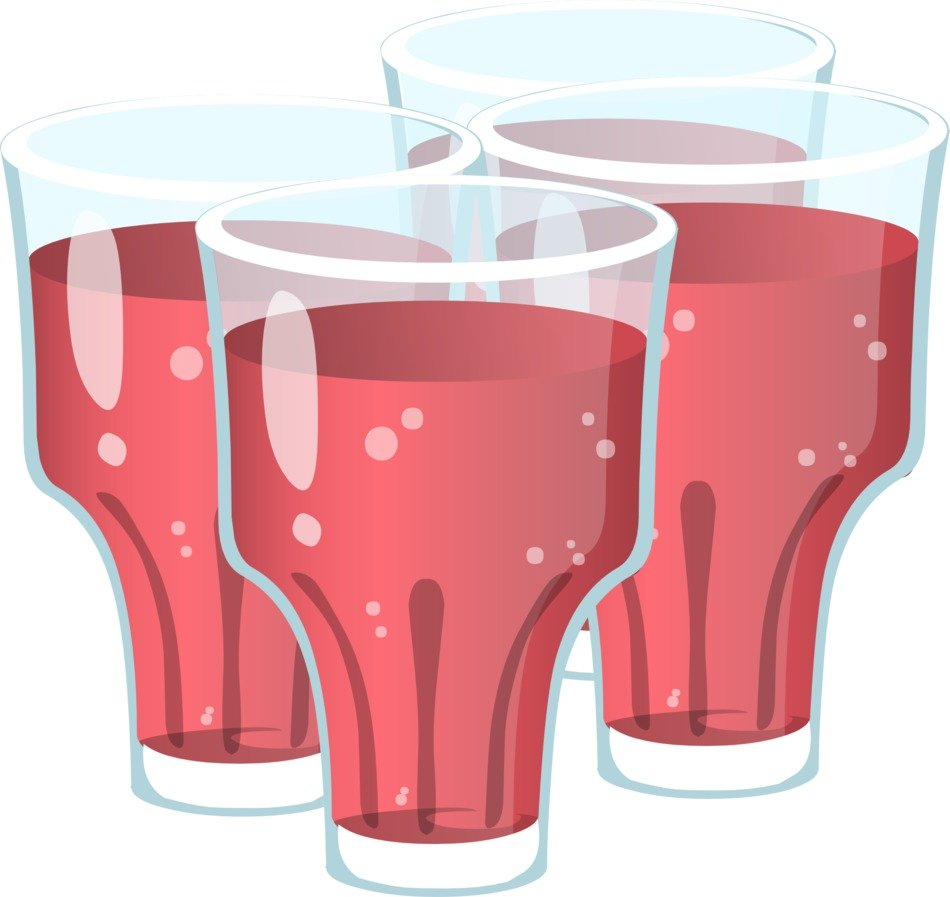 Red beverage in glasses
