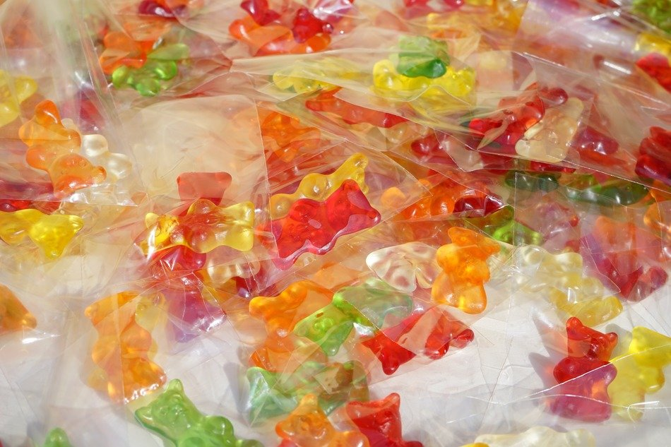colorful delicious gummi bears packed sachets