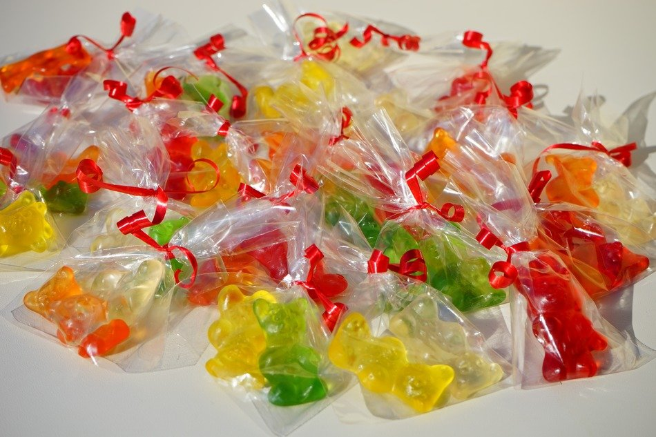 colorful fruit jelly gummi bears packed sachets