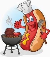 Cartoon hot dog clipart