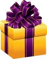 painted yellow gift with a purple bow