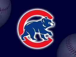 Chicago Cubs Logo with the image of a bear cub on a blue background.