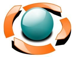 painted blue ball and cyclic orange arrows