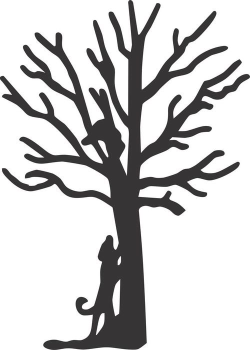Coon Hunting Dog climbing tree, silhouette