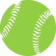 Beautiful white and green softball ball clipart