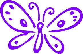 purple Simple Butterfly Drawing