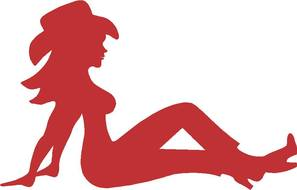 red silhouette of a cowboy girl