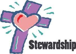 Heart on the cross of Stewardship clipart