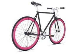 painted bicycle with pink wheels