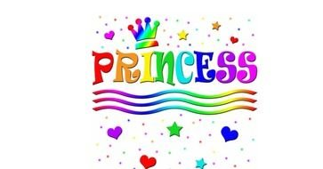 Princess, Rainbow colored banner with Tiara
