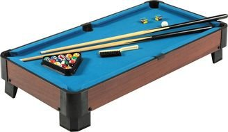 photo of a blue toy pool table
