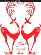 Clip art of Red Deers With Heart Antlers