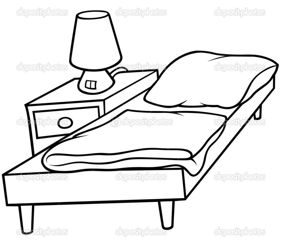 Black and white drawing of the bedroom furniture clipart