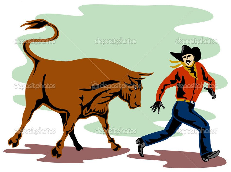 Colorful drawing of the Angry Bull and man clipart
