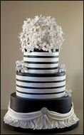black and white striped cake