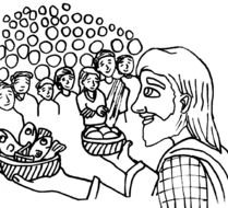 Jesus Feeds Coloring Page drawing