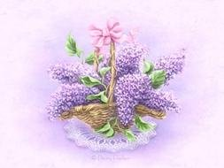 drawn bouquet of lilacs in a basket