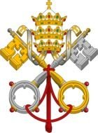 coats of arms of the Holy See and Vatican City, two crossed keys and a tiara