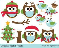 Clip art of Christmas Owls and tree