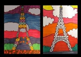 Eiffel Tower at clouds, Simple bright Drawing