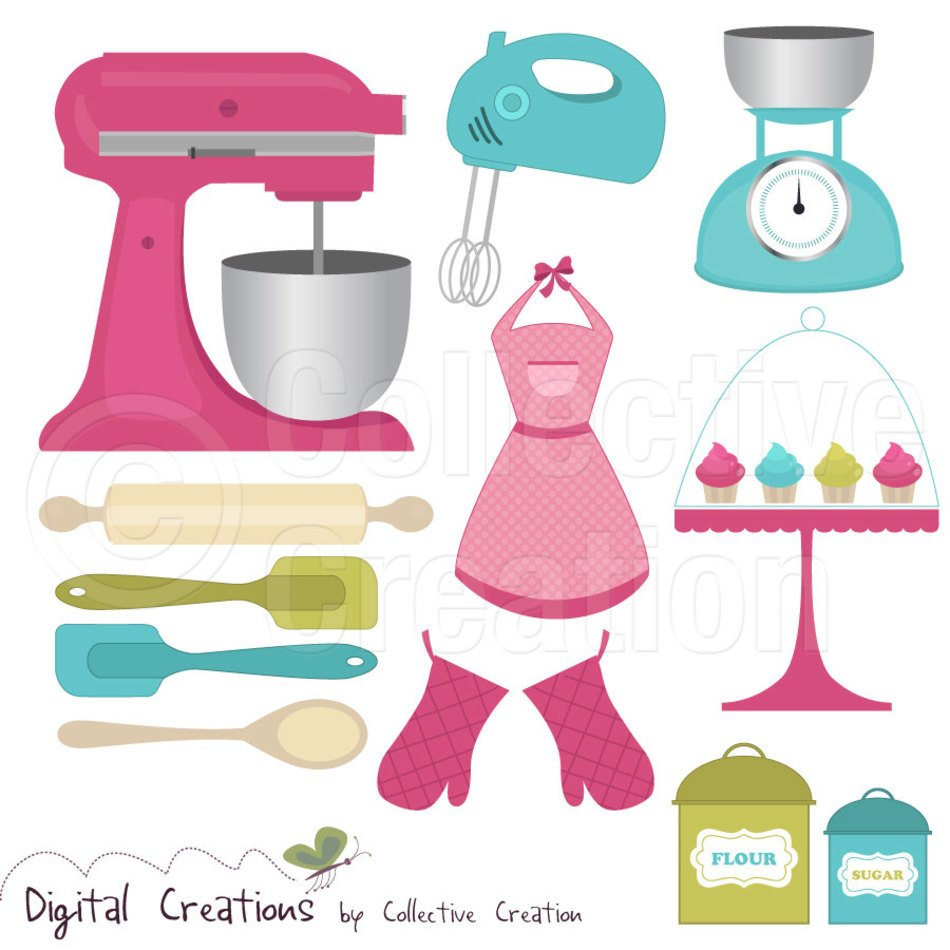 Colorful baking tools clipart