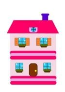 painted pink Barbie doll house
