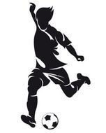 silhouette of a soccer player with a ball as graphic illustration