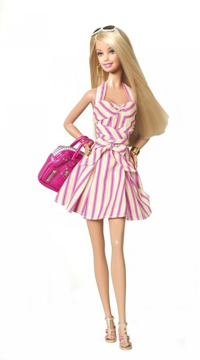 Barbie Doll with pink shopping bag