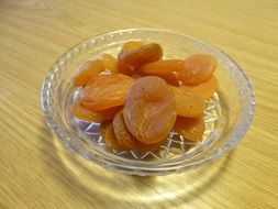 Dried apricots on the plate