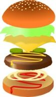 yummy hamburger fast food vector drawing