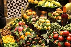 bright fruits and vegetables in the market