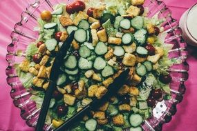 healthy fresh vegetable salad in clear dish