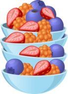 painted fruit salad in a blue bowls