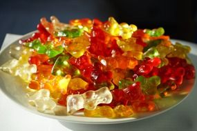 jelly gummi bears on the plate