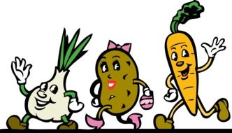 happy cartoon root vegetables walking and waving