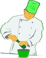 clipart,painted chef with green cup and plate