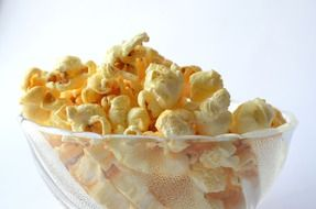 popcorn in a glass bowl
