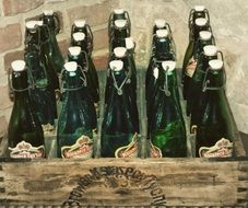 old beer bottles in a drawer