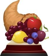 Horn of plenty with the fruits clipart