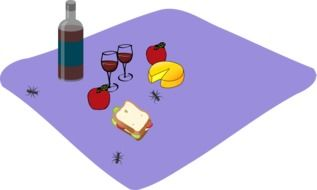 food for picnic on purple mat drawing