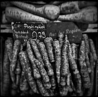 black and white photo of vegetables with vitamins