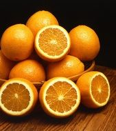 ripe oranges in a bowl