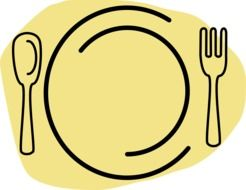 restaurant plate yellow vector drawing
