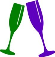 green and purple champagne glasses