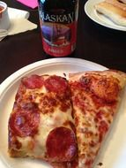 pizza and beer in a restaurant