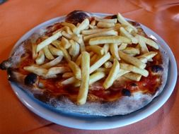 pizza and french fries dinner