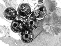 black and white photo of the red wine bottles