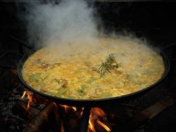 paella on open fire in Spain