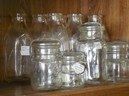 many different glass jars