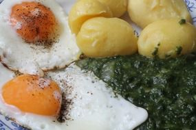 fried eggs with spinach and potatoes